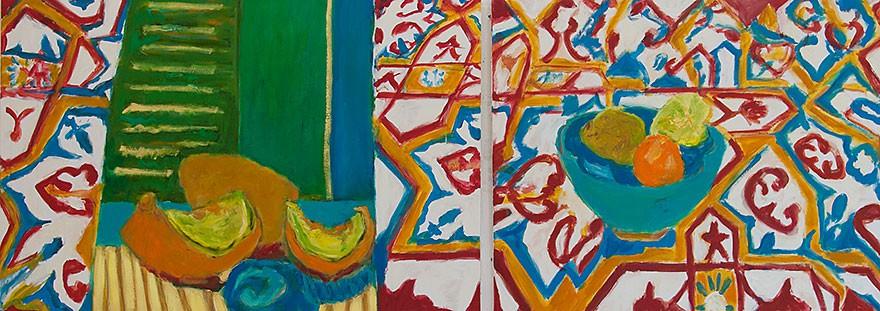 Tiles from Ein Hod  2013  Oel auf Leinwand/2-teilig  80 x 200 cm/31 x 79 in