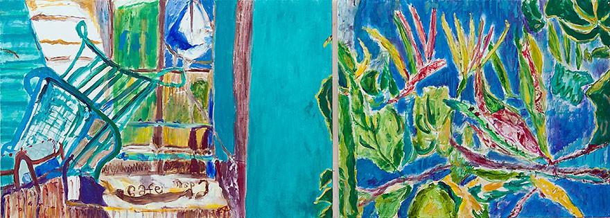 Cafe Ein Hod  2013  Oel auf Leinwand/2-teilig  80 x 200 cm/31 x 79 in