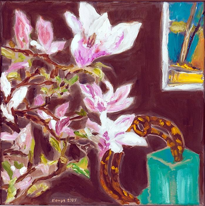 Magnolia  2009  Oel auf Leinwand  40 x 40 cm/16 x 16 in