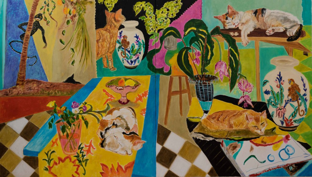 Cat Days  2018  oil on canvas/diptych  160 x 280 cm/63 x 110 in
