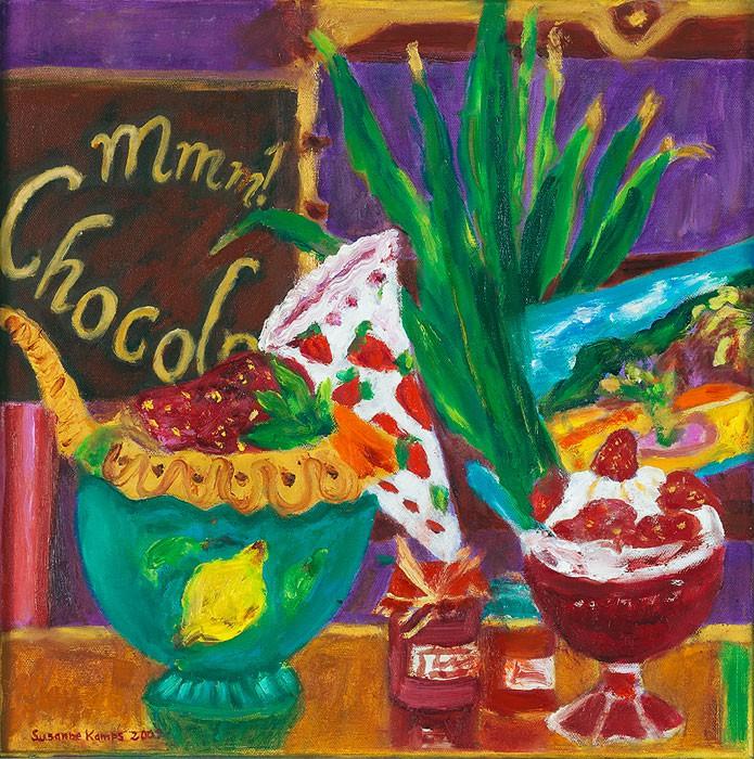 Mmm ! Chocolat  2008  Oel auf Leinwand  40 x 40 cm/16 x 16 in