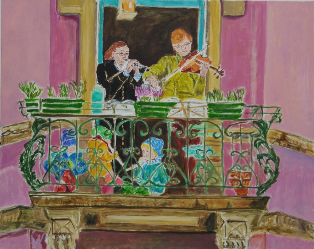 Balcony concert (Ode to Joy) 2021  oil on canvas  80 x 100 cm/31 x 39 in