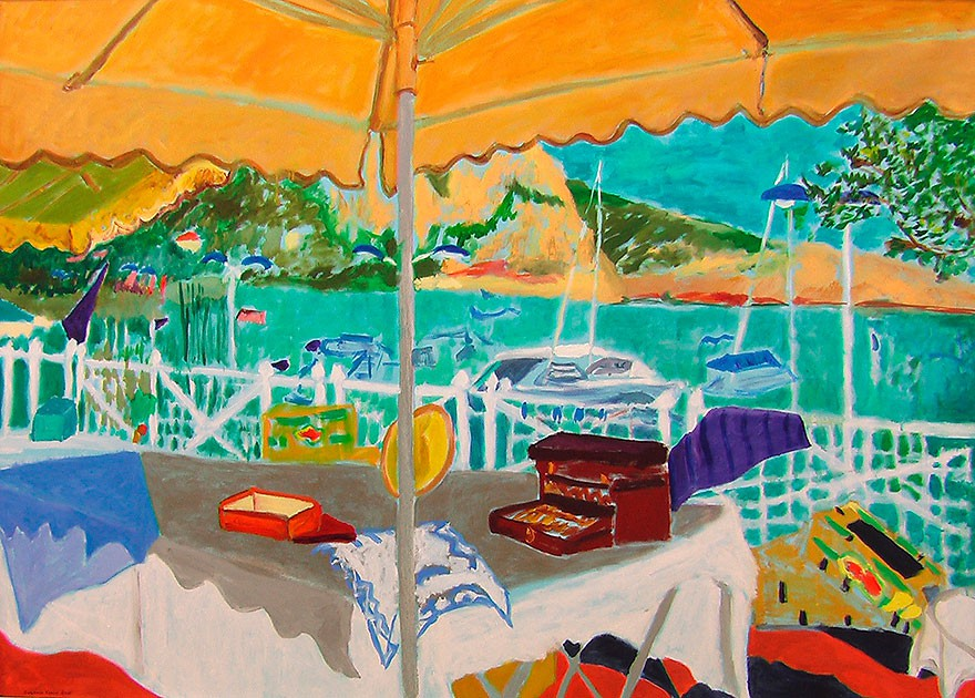 Marché aux puces à Beaulieu–sur–mer  2008  Oel auf Leinwand  100 x 140 cm/39 x 55 in