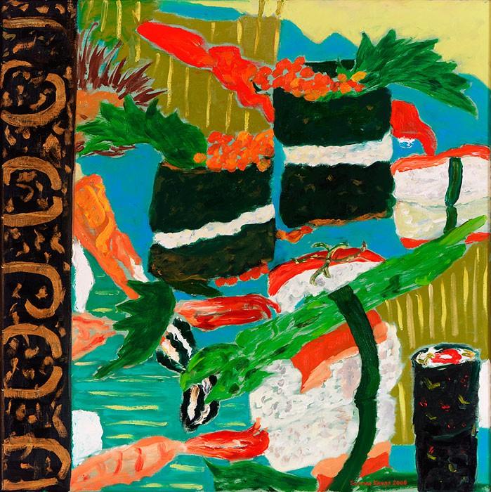Nigiri Sushi  2007  Oel auf Leinwand  70 x 70 cm/28 x 28 in