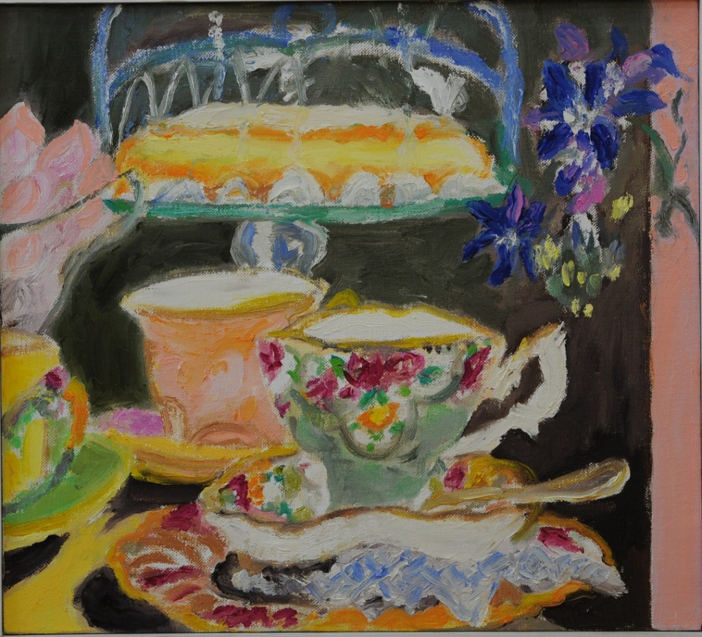 Tea with Lemon Cake  2017  Oel auf Leinwand  40 x 40 cm/16 x 16 in