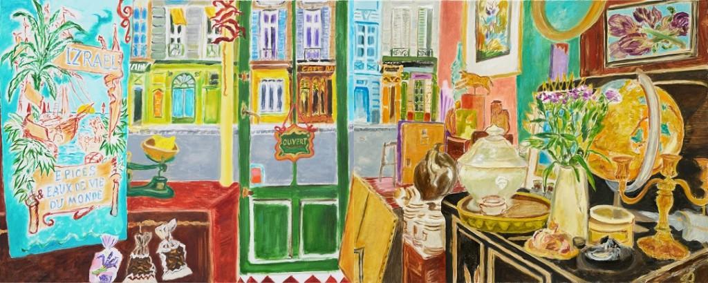 Vitrine parisienne - Dyptich  2019-21  Oil on canvas  80 x 200 cm/31 x 79 in
